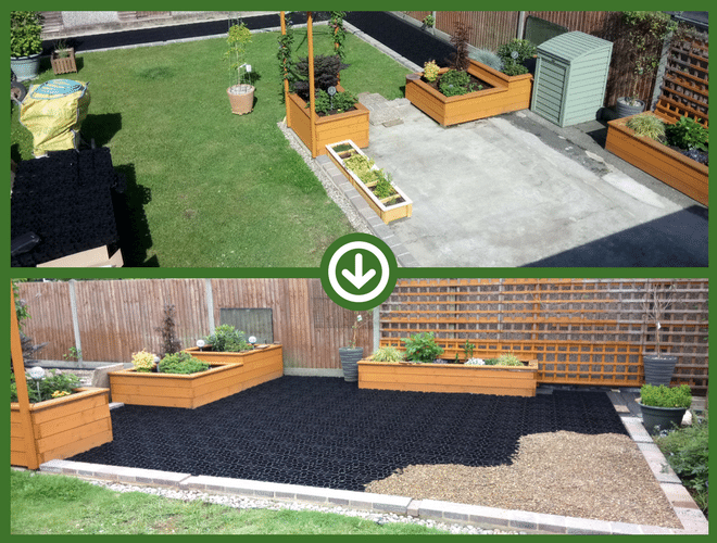 X-grid Patio Before and After