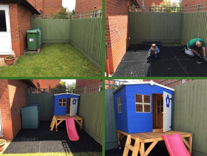 Rubber Grass Mats Playareas Slide and Playhouse