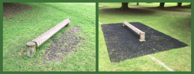 Rubber Grass Mats under Adventure Play Area Before and After 1