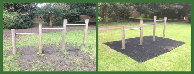 Rubber Grass Mats under Adventure Play Area Before and After 2