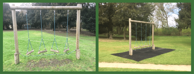 Rubber Grass Mats under Adventure Play Area Before and After