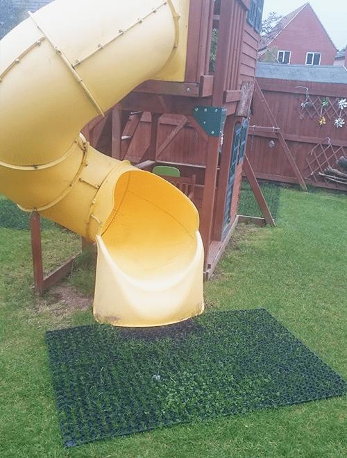 Grass Mats By Climbing Frame Slide Swings Work