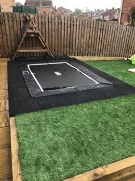 Rubber Play Tiles Used Around A Built In Garden Trampoline: The Project