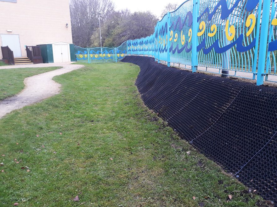 Bulwell Riverside Banking Grass Protection Mats Installed