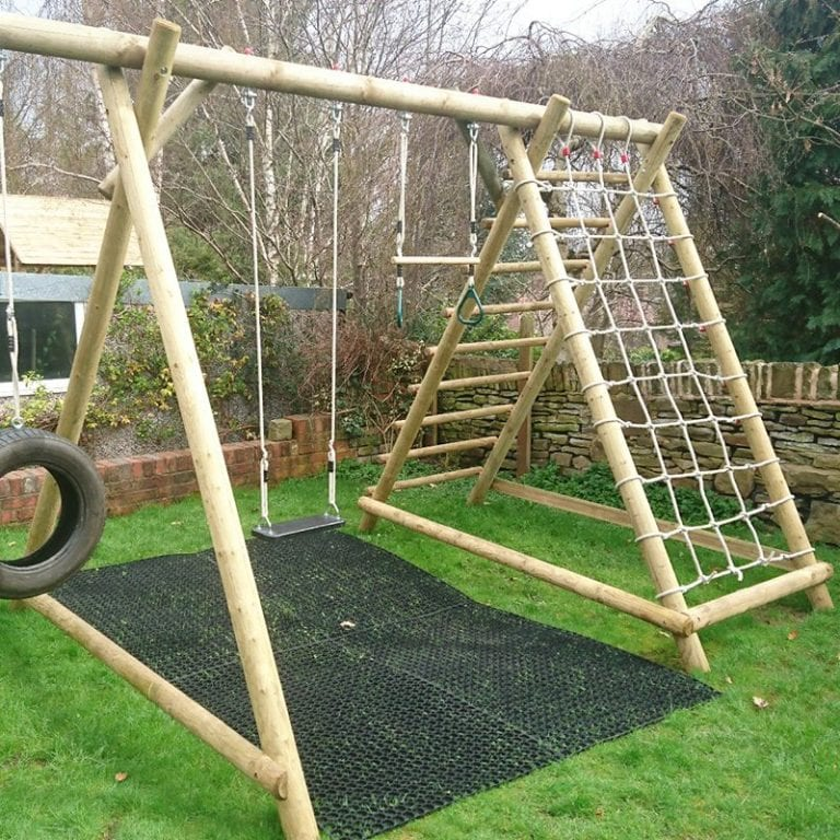 Rubber Grass Mats Installed Under A Caledonia Play Swing Set: conclusion