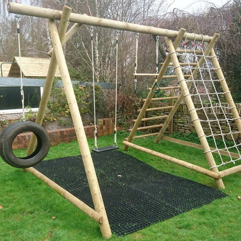 Rubber Grass Mats Installed Under A Caledonia Play Swing Set: The Project