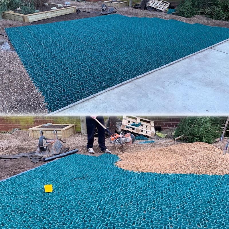 Gravel Driveway Created Using 33m2 of Green X-Grid - Installing X-Grid